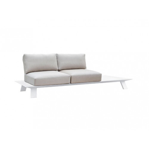 Neverland Aluminum sofa, two seaters, with 2 backpannels, with table