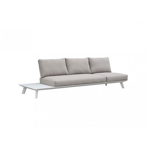 Positano aluminum sofa, three seaters, without armrest