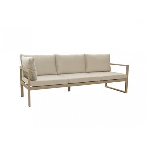 Solaro aluminum sofa, three seater with corner and arm left