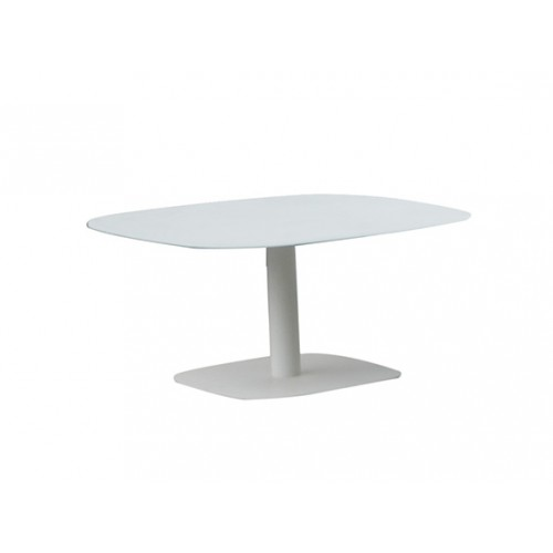 Spade Aluminum coffee table, with 8mm white foggy glass top,800*800*390mm