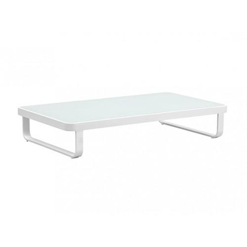 Verona Aluminium glass coffee table,156*84cm, 8mm white foggy glass