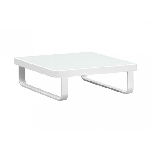 Verona Aluminium glass coffee table,84*84cm, 8mm white foggy glass