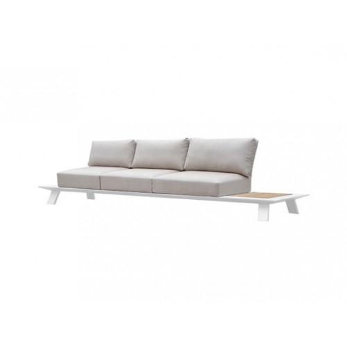 Neverland Aluminum/teak sofa, three seaters, with 3 backpannels