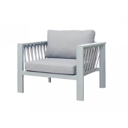 Cooper Aluminum round rope sofa, one seater without armrest