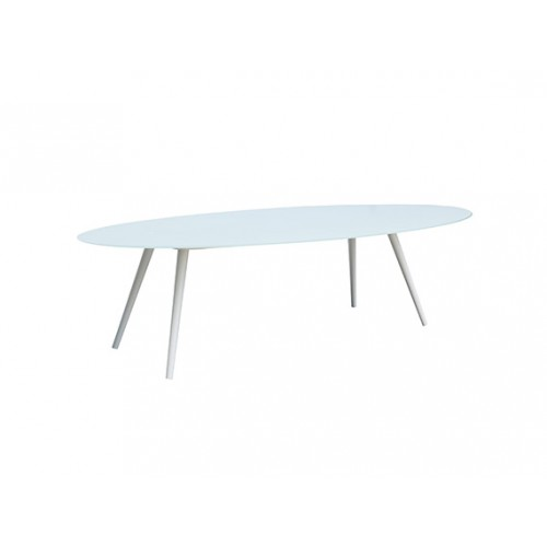 Spade aluminum oval glass table,top in 8mm white foggy glass