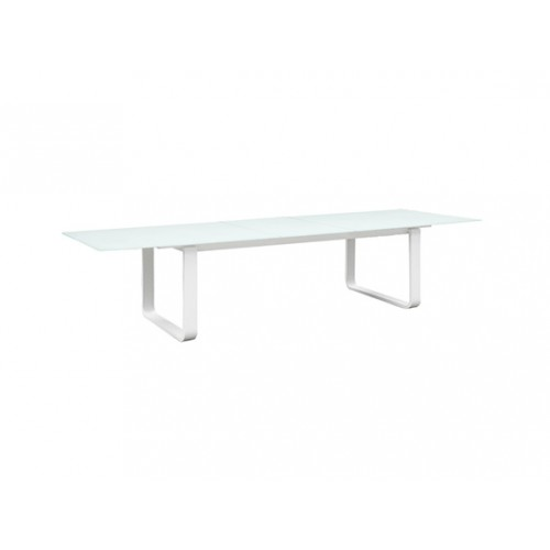 Verona Aluminum/glass extension table, with 10mm white foggy glass top