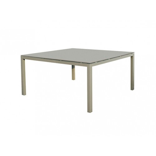 Lisbon Aluminum/glass table, 8mm white foggy glass, legs in 5*5cm