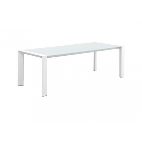 Orlando Aluminum/glass table, with 10mm white foggy glass