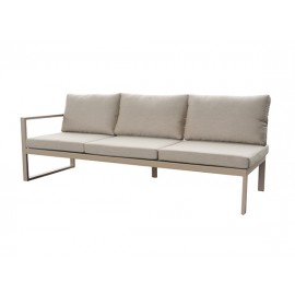 Solaro aluminum sofa, three seater with arm right