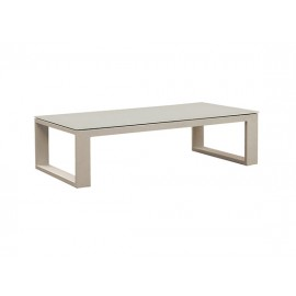 Belluno aluminum coffee table, with 8mm white foggy glass on top