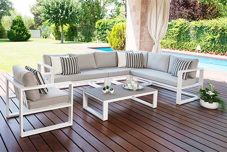 BELLUNO - Sofá de aluminio, cojín de exterior en tela