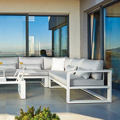 FERMO -  Conjunto de sofás de terraza, lounge, comedor en teca y cerámica, bar de teca