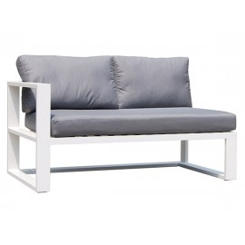 Gardenart Leather & Fabric Full Aluminum two-seater corner sofa furniture - wholesale